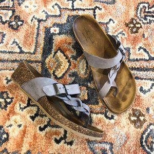🍁Mila Paoli Leather Braided Cork Footbed Sandal